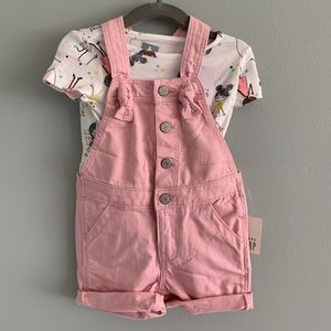 Baby GAP Size 12-18 Months Top & Shortalls Outfit